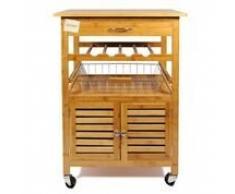 Carrito de cocina Woodluv de bambú de golf con cajón, cesta de, armario y botellero