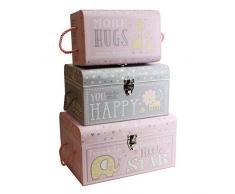 tricoastal diseño Sweet Baby de minas Set 3 Baúles de soporte de niña – wtc683