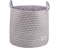 Minene 1244 - Cesta de tela, diseño olas, color gris