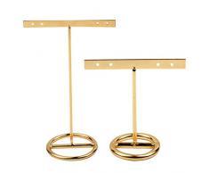 Cabilock 2 Piezas Pendientes de Moda Soporte de pie t-Ear Studs Expositor Organizador de Almacenamiento de Joyas tamaño s y l (Dorado)