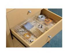 iDesign Caja organizadora para armario o tocador, bandeja organizadora pequeña de plástico, organizador de cajones con 7 compartimentos para accesorios, transparente