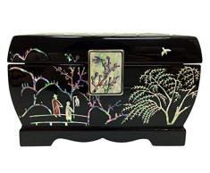 Diseño de playa tropical incrustaciones de madreperla de flores de casa negro lacado de madera Joyero con el cofre del tesoro organizador de adorno de caja