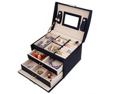 DCCN Jewellery Box Estuche de cosméticos Caja de Almacenamiento de joyería de Cuero de PU de Tres Capas con Espejo y Cerradura, Regalo para niñas o Mujeres(Negro)