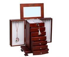 Rowling Caja joyero de madera lacado marrón con espejo cerradura llave bonita solapas laterales almacenamiento organizador de joyas MG010BROWN