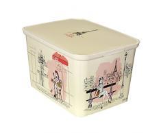 Curver 213.936 Deco Ámsterdam señorita Paris - Caja de almacenamiento, polipropileno, 30 x 21 x 15 cm, color: Marfil