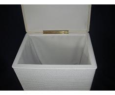 Cesta para la colada pequeño organizador para ropa asiento taburete de ratán color blanco con forro acolchado tapa