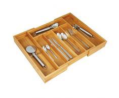 axentia 116668 – Cubertería de cajón extraíble para Cubiertos, Madera de bambú, marrón, 48,5 x 37 x 5,3 cm