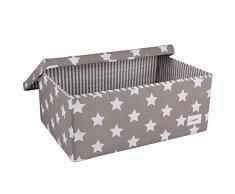 Minene 1248 - Caja de tela, diseño estrellas, color gris