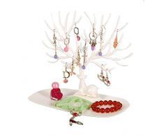 Exhibidor de joyería, soporte en forma de ciervo sica y árbol para soporte y organizador de joyas, anillos o collares. Para regalo de Navidad o cumpleaños. Caja de almacenamiento, organizadora de joyas, Blanco, Small