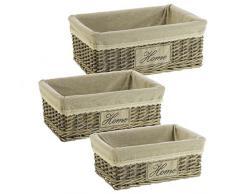 Set 3 cestas mimbre natural