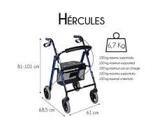 Mobiclinic Andador para Ancianos de 4 Ruedas   Rollator para Mayores   Plegable   Incluye Cesta de Tela   Frenos y Respaldo ergonómicos   Deluxe con diseño Innovador   Modelo Hércules