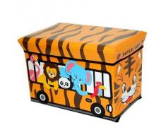 GMMH Taburete Safari 49 x 31 x 31 cm plegable Original Caja juegos Pecho de juguete Caja de juguetes AufbewahrungsboxSitzhocker plegable