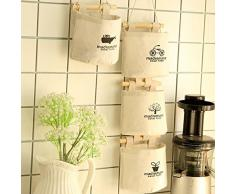 Chaki Bolsa de Almacenamiento Ropa de algodón Colgando Colgando Creativo Simple Armario Puertas y Ventanas Cocina Pared Cesta de Almacenamiento Bolsa de Almacenamiento