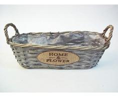 Cesta para plantas 35 x 13 x 10 cm Home & Garden ovalado – Maceta Cesta cesta de mimbre gris – Maceta – Cuenco