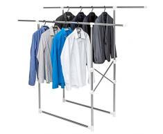 TecTake Perchero plegable doble soporte regulable colgador de ropa percha burro 2 barras