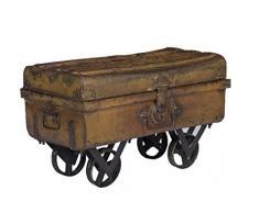 Stylla Londres Decor rústico Vintage baúl de almacenaje con Ruedas, Madera, marrón, 20 x 18 x 18 cm