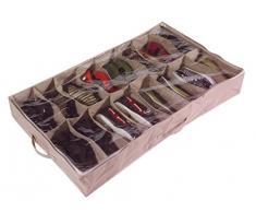 Caja organizadora de zapatos para debajo de la cama (para 16 pares, de robusta lona Oxford de 600D, con tapa transparente de PVC, 60 x 15 x 100 cm) - por Brilliant Feet