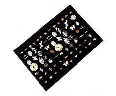 Exhibidor y Caja Organizar Joyas - 34x23cm Acabado en Cuero Sintético Elegantemente Forrado de Terciopelo Negro Caja Expositora con 7 rollos para Anillos y Gemelos