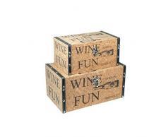 CAPRILO Set de 2 Baúles Decorativos Retro Wine. Muebles Auxiliares. Cajas Multiusos. Regalos Originales. 15 x 30 x 18 cm.