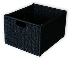 KMH Práctica cesta, modelo Jytte con aspecto de ratán, color negro con forro interior blanco (#204047)