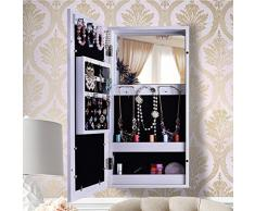Gabinete colgante de pared, BXSG®, 6031, de 62 x 31 cm, estilo sencillo, para colgar joyas en el armario, con espejo de pared, marco de fotos
