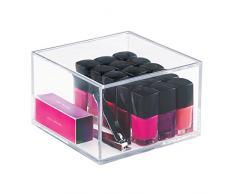 iDesign Organizador de maquillaje con tapa (15,2 x 15,2 x 10,2 cm), caja de belleza mediana en plástico sin BPA, organizador de cosméticos apilable de acrílico, transparente