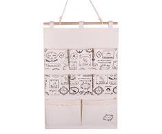 GudeHome Lino / algodón Tela puerta de la pared Organizador Vestidor bolsa de almacenamiento caso 8 bolsillos del organizador del hogar