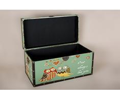 Borras Hnos - Baúl madera cuero buhos. (Color: decorado Tamaño: 60x25x25)