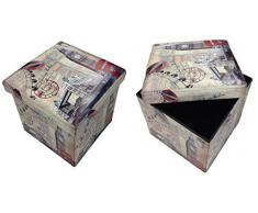 Taburete Londres puente Original GMMH Box Caja de asiento con forma de cubo plegable banco baúl reposapiés para guitarristas