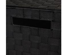 JVL - Cesto tejido para ropa sucia (con asas), color negro