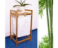 Relaxdays Cesto para colada con armazón de bambú, bolsa de textil, 73 x 36,5 x 33 cm, color natural y bolsa de tela
