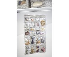 mDesign - Estuche colgante, organizador de bijouterie; organiza anillos, aros, pulseras, collares, baberos – 48 BOLSILLOS – Natural