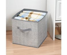 InterDesign - Aldo - Cubo para almacenamiento, de tela; para ropa blanca, ropita del bebé, juguetes, ropa o equipos deportivos, organizador del armario - Gris