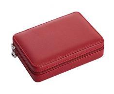 HAVIEANA Caja Joyero Rojo Estuche de Joyas Cuero Rectangular PU Joyero Almacenamiento Organizador con Cerradura,17x12x5cm