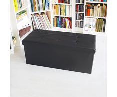 Relaxdays - Banco plegable con espacio de almacenamiento hecho de cuero sintético con medidas 38 x 78 x 38 cm capacidad de 85 L asiento baúl, color negro