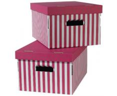 Rangement & Cie RAN3464 Shirt - Juego de 2 cajas de almacenaje, diseño a rayas, color rosa
