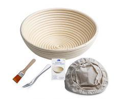 """Bakery Essentials cesta de pruebas 10 """"redondo Banneton Brotform cuenco de ratán para masa de pan y cepillo [libre] Borradores de aumento + free liner + libre Pan horquilla"""