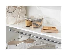 InterDesign - Organizador de armario, caja plástica para zapatos, calzado con plataforma, chatitas, sandalias, zapatillas o calzado deportivo - Claro