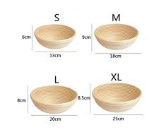 Banneton Pruebas Cesta, 13*6 cm Banneton Redondo, Banneton para pan - Banneton Brotform cuenco de ratán para masa de pan y cepillo - La ideal cesta para masa y fermentación de pan de mimbre natural