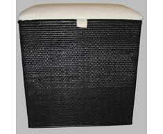 Rattano CL 94 - Cesto para la colada (taburete, cesto y cesta para la colada, fabricado en Alemania), color negro