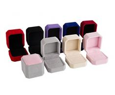 Emorias 1 Pcs Joyero Amor Pendientes Caja de Almacenamiento para Bisuteria Anillo Caso Pequeño Regalo Mujer Organizador de Joyeria - Negro