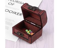 VOSAREA Caja de Almacenamiento de joyería de Escritorio del Cofre del Tesoro de Madera Vintage Misceláneas Organizador Contenedor Estuche (Lotus)