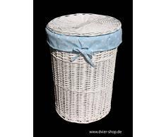 dvier – Cesta para la Colada Mimbre Blanco Babyblau Redondo d.32 h.47