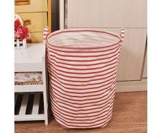 MMRM Ronda plegrable de algodón lavandería cesta bolsa de almacenamiento de ropa raya rojo