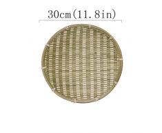 ZXF Plato Hecho a Mano de bambú cestería de Mimbre for la Alimentación Pan del Cuenco de Fruta del envase de la Vendimia delicadeza Cocina for Guardar Rattan Plate (Color : L30cm)