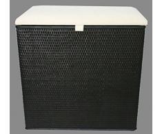 """Cesto para la ropa sucia con 2 clasificador de taburete de ratán de colour negro con dos compartimentos para """"Made in Germany"""""""