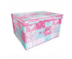 Caja Plegable con Tapa a Parches para Guardar y Ordenar Juguetes del Cuarto de los Niños