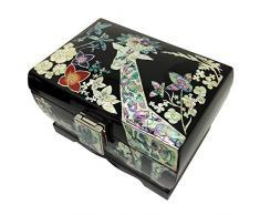 Incrustaciones de madreperla Miranda diseño de estampado de jirafa de flores negro lacado de madera caja de recuerdos para Joyero con organizador de el cofre del tesoro