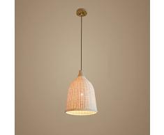 Modeen 29 cm Lámpara de techo de bambú simple moderna del país del arte Lámpara de hierba de mimbre del sauce Lámpara de luces de techo de madera con la pantalla del cuenco, accesorios de iluminación ajustables