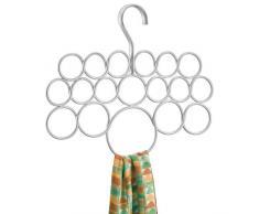 InterDesign Axis Percha para pañuelos   Ideal percha organizador de armario con 18 ganchos   Perfecta para colgar pañuelos, corbatas, etc.   Metal plateado